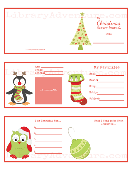 Printable memory journal ornament for kids