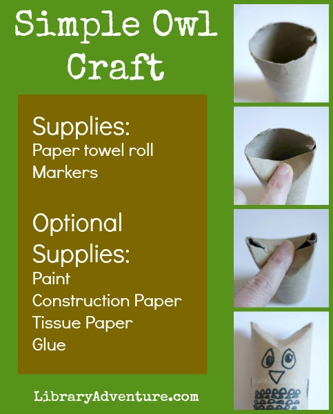 Simple Owl Craft from LibraryAdventure.com