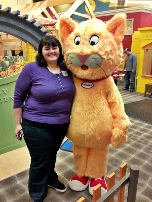 Jess Crutchley with Storyville's Mascot